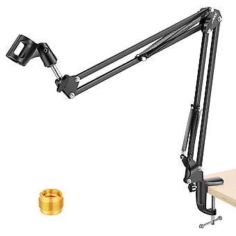 Adjustable Microphone Suspension Boom Scissor Arm Stand, Mic Stand For Radio Tv