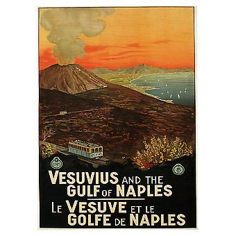 Poster Vintage Turistico Il Vesuvio e il Golfo di Napoli - Stampa su Tela, Decorazione Parete