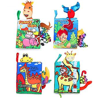 4pcs Dinosaurs Farm Underwater Jungle Interesting Cloth Book With Sound Paper Sound Box Non-toxic Baby Fabric Book
