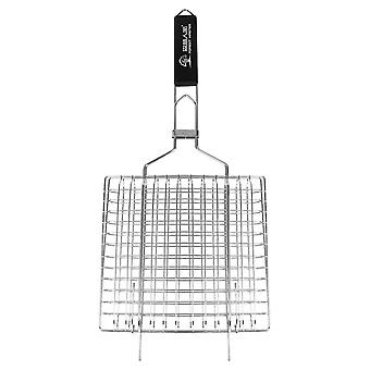 Stainless Steel Barbecue Net Practical Thicken Square Foldable Barbecue Grill With Wooden Handle For Picnic Outdoor Bbq