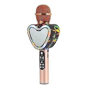 Micrófono de karaoke bluetooth inalámbrico en forma de corazón, 4 en 1 con luces led para ktv (Rose Gold)