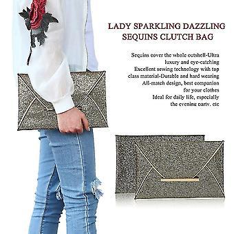 Lady Mousserande bländande paljetter koppling väska väska kväll fest handväska