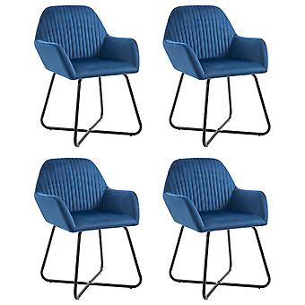 vidaXL dining chairs 4 pcs. blue velvet
