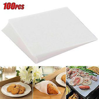 100pcs Silikone Greaseproof papirark Bagning Pergament BBQ Non-Stick Steamer