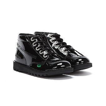 Kickers Kick Hi Zip Patent Junior Black Boots