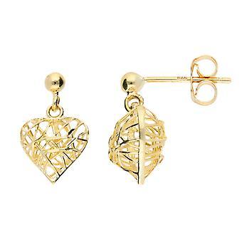 HS Johnson HSJ-148078 Women's Gold Wire Heart Drop Earrings