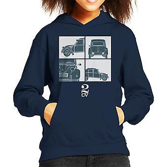 Citroen 2CV Vit Glamour Näring Barns Hooded Sweatshirt