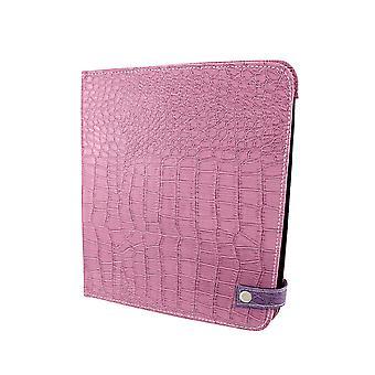 紫クロコの模擬 iPad カバー/スタンド