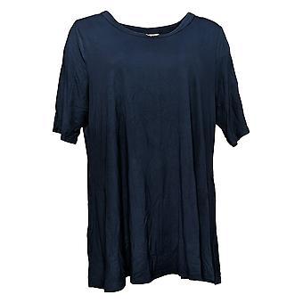 LOGO by Lori Goldstein Women's Top Rayon Elbow-Sleeve Swing Blue A379902