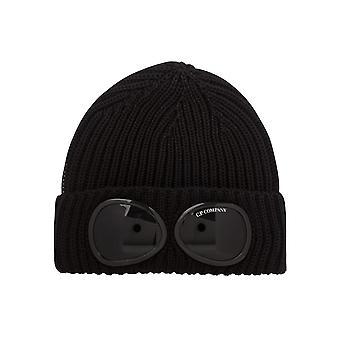 C.P. Company Cotton Goggle Logo Ribbad svart mössa