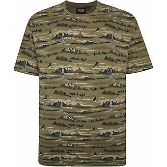 ESPIONAGE Espionage Mens Big Size Crew Neck All Over Wilderness Camouflage Print TShirt