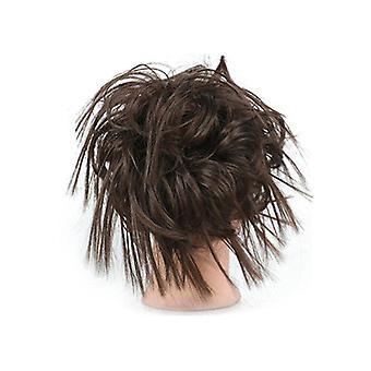 syntetisk hestehale hår rodet bolle elastik hårstykke til kvinder donut chignon pigtail