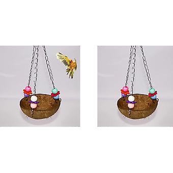 Papouščí hračky okouni kokosová skořápka Houpací hnízdo Závěsná klec Přírodní ptáci Papoušek Papoušek Africké šedé hračky pro malé papoušky pro velké ptáky 2ks ara C