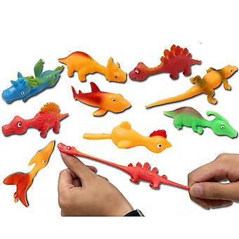 10buc Tpr Catapulta Dinozaur Fidget Jucării Simulare Animale Deget Praștie