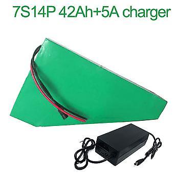 Batterij met oplader 5a 42ah 24v 25.9v Li-ion 18650 oplaadbare elektrische fiets E-bike Ebike Accepteren Aanpassing 7s14p 265 * 260 * 200 * 70 * 70 *