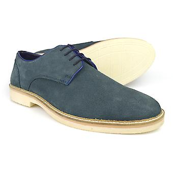 Silver Street London Dart Blue Suede Casual Gibson Shoes