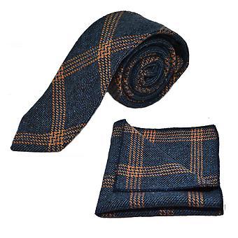 Denim bleu & Orange Birdseye vérifier cravate & poche carré disposé