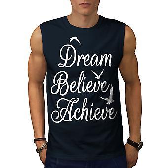 Zu erreichen glauben Männer NavySleeveless T-shirt | Wellcoda