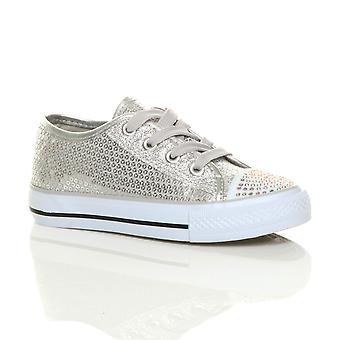 Ajvani girls flat glitter lace up plimsolls trainers sneakers