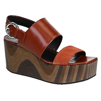 C�line wedges sandals in rust shiny calf leather