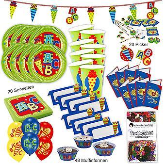 Volta para escola escola ABC festa conjunto XL 160-teilig para 8 convidados no pacote de festa de decoração de festa de escola