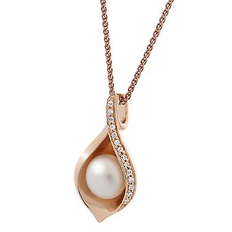 Orphelia Silver 925 Pendant Rose Fresh Water Pearl Zirc  ZH-7234/RG