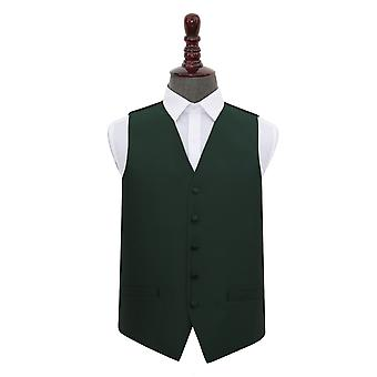 Dark Green Solid Check Wedding Waistcoat