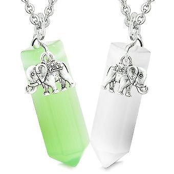 Heldig elefant elsker par eller beste venner Crystal poeng grønn hvit simulert Cats Eye halskjeder