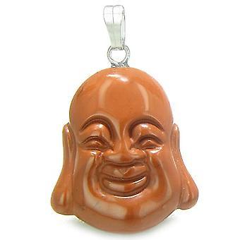 Amulet lykkelig leende Buddha lykkebringer rød jaspis Gemstone tror krefter anheng