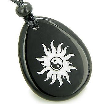 Magic positiv energi solen Ying Yang Amulet sort Onyx heldig ønske sten vedhæng halskæde