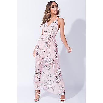 فستان ماكسي طباعة الأزهار