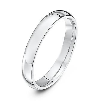 Star Wedding Rings 18ct White Gold Extra Heavy Court Shape 3mm Wedding Ring