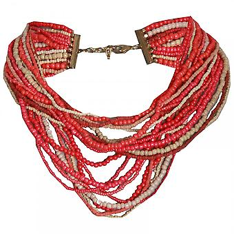 Marie Mero Red Nomad Multi String Beaded Necklace