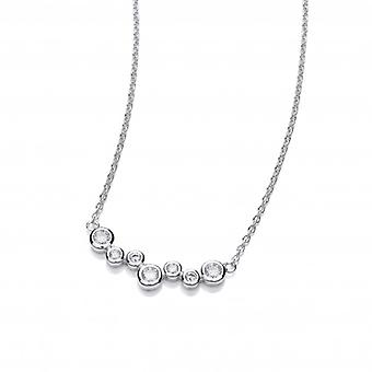 Cavendish French Silver and Cubic Zirconia Bubble Mix Necklace
