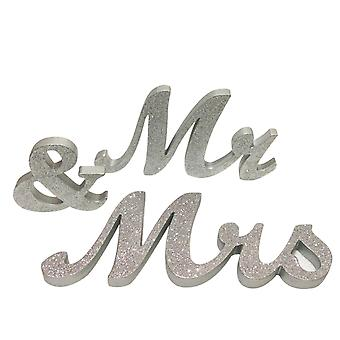 TRIXES Mr and Mrs Silver Table Decorations