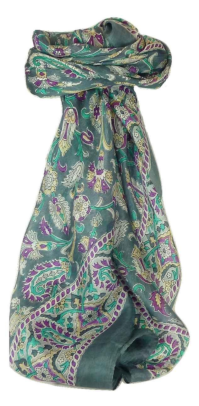 Mulberry Silk Traditional Square Scarf Sai Charcoal by Pashmina & Silk