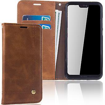 Mobiele telefoon dekking geval voor Huawei P20 Lite cover Wallet case Brown