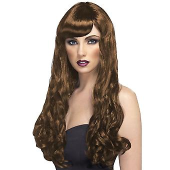 Long Brown Wavy Wig, Desire Wig, Brown, Long, Curly with Fringe
