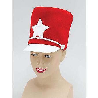 バトンガールの帽子。赤いソフト フェルト。