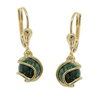 Brisur 23x7mm earring Pearl Malachite wrapped 8Kt GOLD