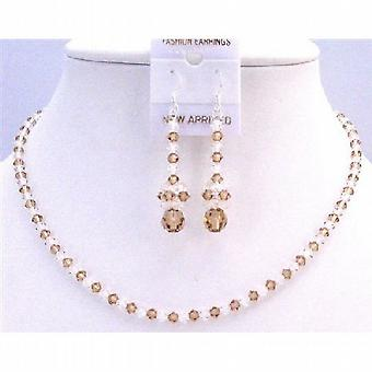 Lite Colorado Crystals w/ Clear Crystals Bridal Wedding Jewelry Set