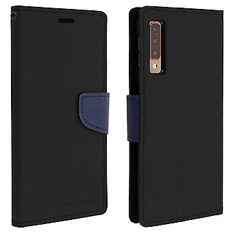 Case for Galaxy A7 2018 Folio Case Cards-Holder Support Function Mercury - Black