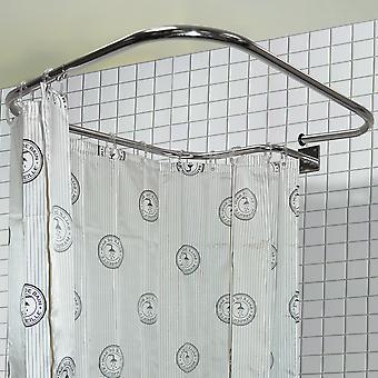 Piazza di loop - barra doccia rettangolare in acciaio inox e ganci per tende