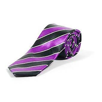 Purple Striped Skinny Tie