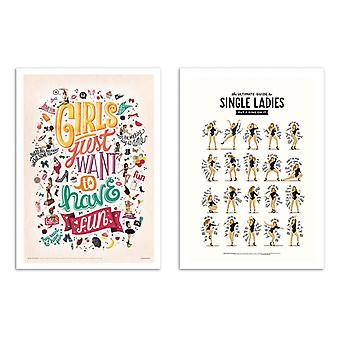 2 Art-Posters - Single Ladies, Girls wanna have fun - Nour Tohme