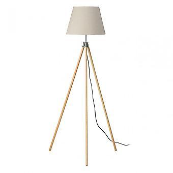 Premier Home Stockholm Floor Lamp - EU Plug, Wood, Natural