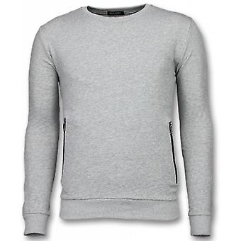 Pull-Gris Casual Crewneck-Buttons