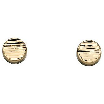Elementen goud getextureerde disc Stud Oorbellen-goud