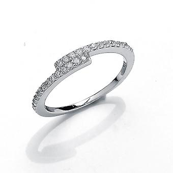Jewelco London Girls Rhodium Plated Sterling Silver Round Brilliant Cubic Zirconia Off Set Crossover Eternity Ring