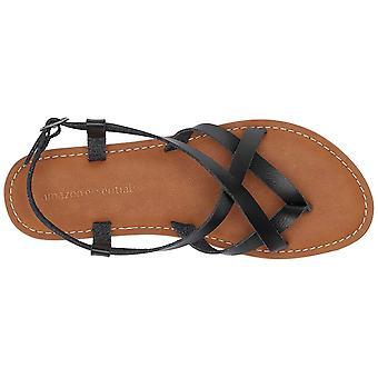 Amazon Essentials Women's Casual Strappy Sandal, Black, 10 B US